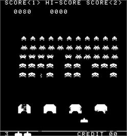 In game image of Space Invaders / Space Invaders M on the Arcade.