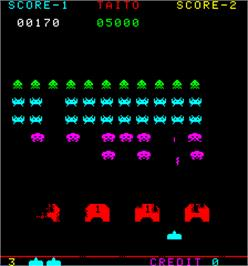 In game image of Space Invaders Part II on the Arcade.