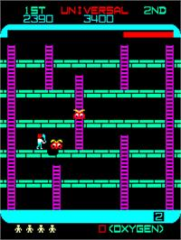 In game image of Space Panic on the Arcade.
