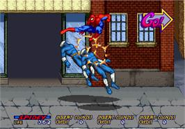 In game image of Spider-Man: The Videogame on the Arcade.