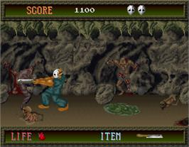 In game image of Splatter House on the Arcade.