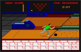 In game image of SportTime Bowling on the Arcade.