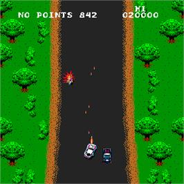 In game image of Spy Hunter on the Arcade.