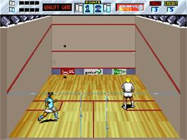 In game image of Squash on the Arcade.