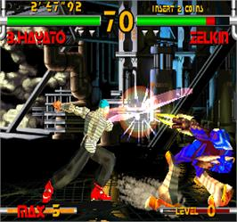 In game image of Star Gladiator 2 on the Arcade.