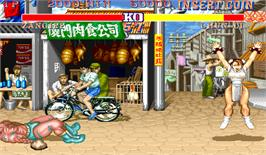 In game image of Street Fighter II': Hyper Fighting on the Arcade.