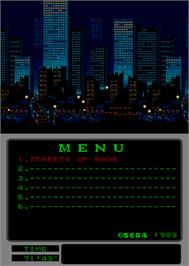 In game image of Streets of Rage on the Arcade.