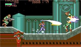 In game image of Strider Hiryu on the Arcade.
