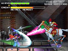 In game image of Strider Hiryu 2 on the Arcade.