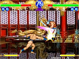 In game image of Suikoenbu / Outlaws of the Lost Dynasty on the Arcade.