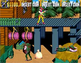 In game image of Sunset Riders on the Arcade.