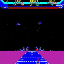 In game image of Super Astro Fighter on the Arcade.