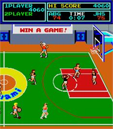 In game image of Super Basketball on the Arcade.