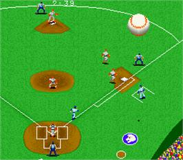 In game image of Super Champion Baseball on the Arcade.