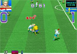 In game image of Super Cup Finals on the Arcade.