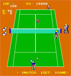 In game image of Super Doubles Tennis on the Arcade.