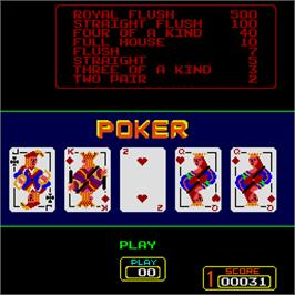 In game image of Super Draw Poker on the Arcade.