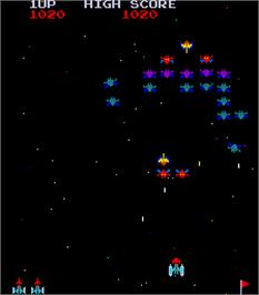 In game image of Super Galaxians on the Arcade.