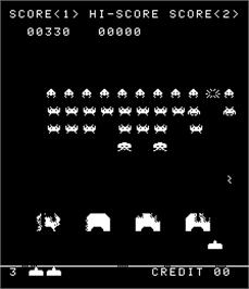 In game image of Super Invaders on the Arcade.