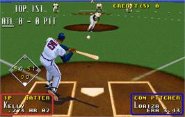 In game image of Super Major League on the Arcade.