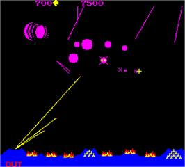 In game image of Super Missile Attack on the Arcade.