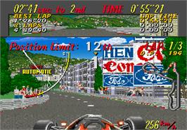 In game image of Super Monaco GP on the Arcade.