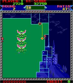 In game image of Super Qix on the Arcade.