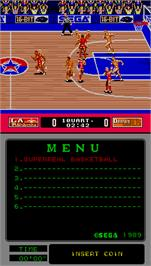 In game image of Super Real Basketball on the Arcade.
