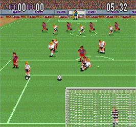 In game image of Super Soccer on the Arcade.