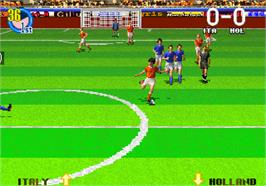 In game image of Super Visual Football: European Sega Cup on the Arcade.