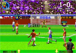 In game image of Super Visual Soccer: Sega Cup on the Arcade.