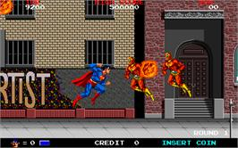 In game image of Superman on the Arcade.