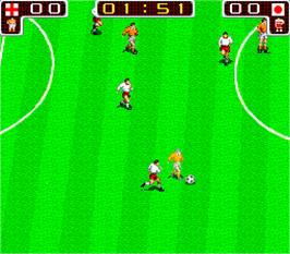 In game image of Tecmo World Cup '90 on the Arcade.