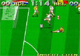 In game image of Tecmo World Cup '94 on the Arcade.
