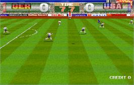 In game image of Tecmo World Cup '98 on the Arcade.
