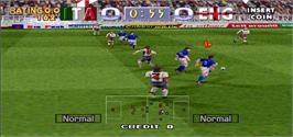 In game image of Tecmo World Cup Millennium on the Arcade.