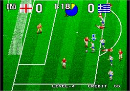 In game image of Tecmo World Soccer '96 on the Arcade.