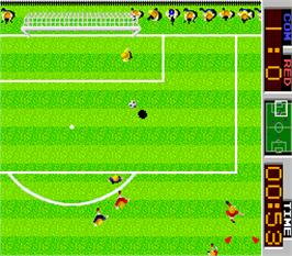In game image of Tehkan World Cup on the Arcade.