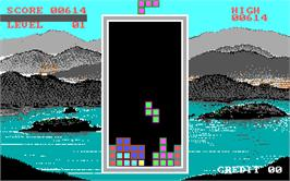In game image of Tetris on the Arcade.