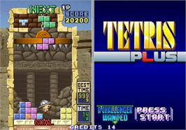 In game image of Tetris Plus on the Arcade.