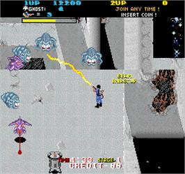 In game image of The Real Ghostbusters on the Arcade.