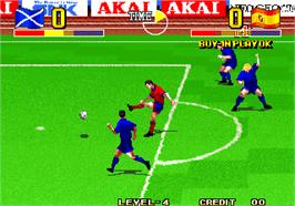 In game image of The Ultimate 11 - The SNK Football Championship / Tokuten Ou - Honoo no Libero on the Arcade.
