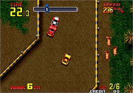 In game image of Thrash Rally on the Arcade.