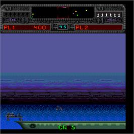 In game image of Thunder Strike on the Arcade.