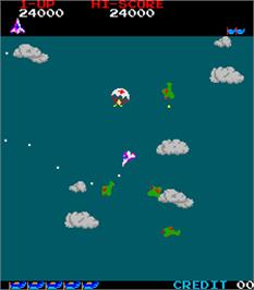 In game image of Time Pilot on the Arcade.