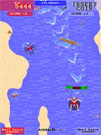 In game image of Toobin' on the Arcade.