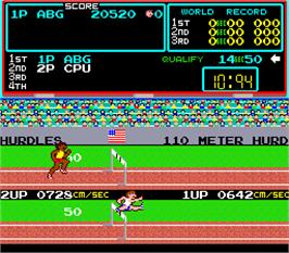 In game image of Track & Field on the Arcade.