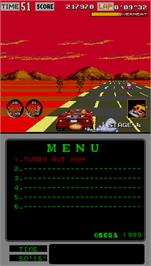In game image of Turbo Outrun on the Arcade.