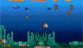 In game image of Turtle Ship on the Arcade.