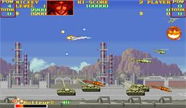 In game image of U.N. Squadron on the Arcade.